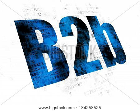 Business concept: Pixelated blue text B2b on Digital background