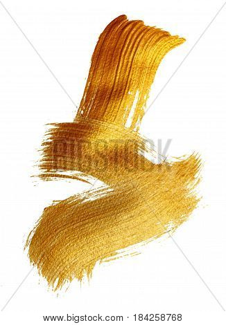 Abstract gilded background with acrylic paint brush on white background.