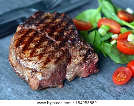 Grilled Filet Mignon Beef Steak: with nice grill marks showing.