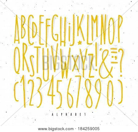 Alphabet set straight lines font in vintage style drawing with yellow lines on white background