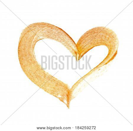 Abstract gilded heart with acrylic paint brush on white background with place for your text.