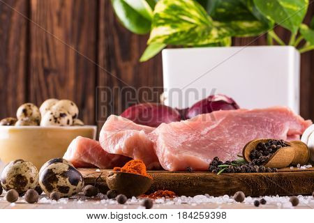 Raw Pork Meat With Few Spices And Eggs