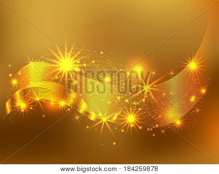 Gold glitter sparkles abstract background. Vector golden dust texture. Twinkling confetti shimmering star lights.