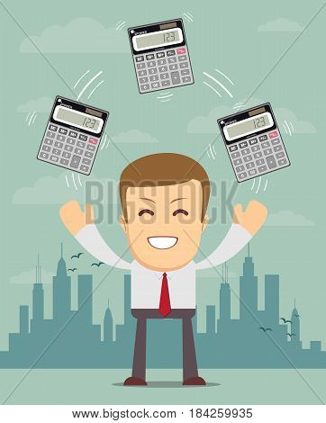 Businessman or manager juggling a calculators in his hands. Profit, finances concept. Vector, flat, illustration