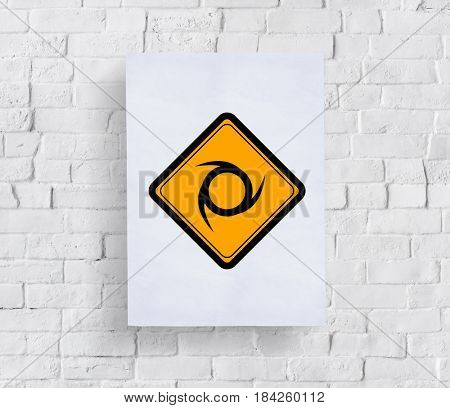 Sawblade Sign Attention Banner Put in Concrete Wall