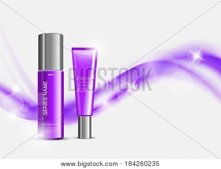 Skin moisturizer cosmetic design template with purple realistic packages on light wavy soft dynamic lines background. Vector illustration