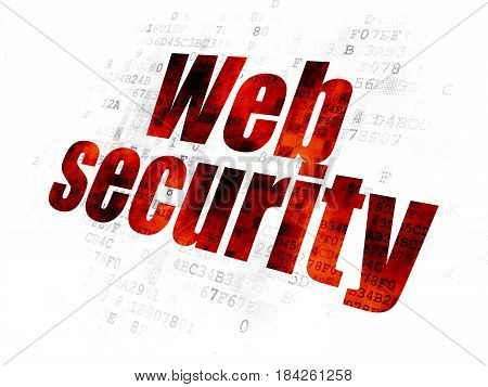Web development concept: Pixelated red text Web Security on Digital background