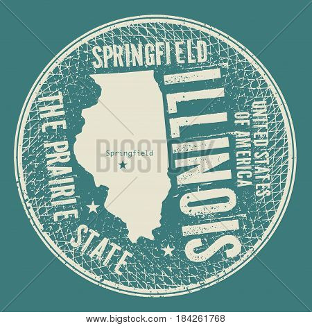 Grunge vintage round stamp or label with text Springfield Illinois The Prairie State vector illustration