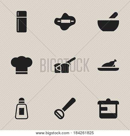 Set Of 9 Editable Meal Icons. Includes Symbols Such As Husker, Dough, Utensil And More. Can Be Used For Web, Mobile, UI And Infographic Design.