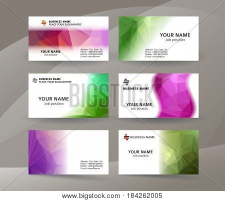 Business Card Background Blue Triangle Mosaic Horizontal Templates04