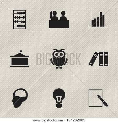 Set Of 9 Editable Education Icons. Includes Symbols Such As Univercity, Cerebrum, Student And More. Can Be Used For Web, Mobile, UI And Infographic Design.