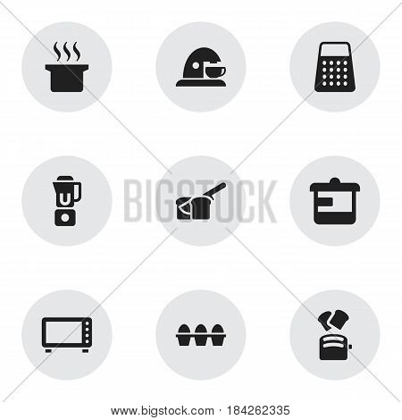 Set Of 9 Editable Meal Icons. Includes Symbols Such As Utensil, Shredder, Cup And More. Can Be Used For Web, Mobile, UI And Infographic Design.