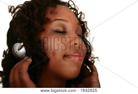African American Girl Enjoying Music 2