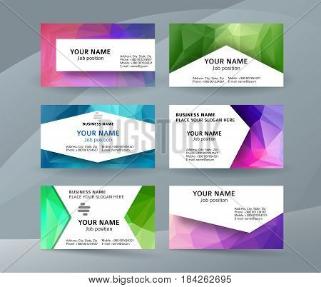Business Card Background Blue Triangle Mosaic Horizontal Templates05