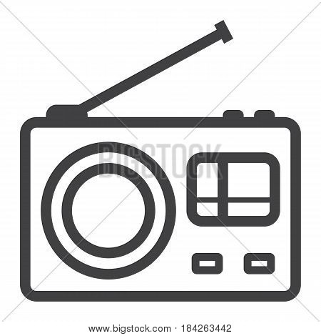 Radio line icon, communication and website button, vector graphics, a linear pattern on a white background, eps 10.
