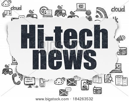 News concept: Painted black text Hi-tech News on Torn Paper background with  Hand Drawn News Icons