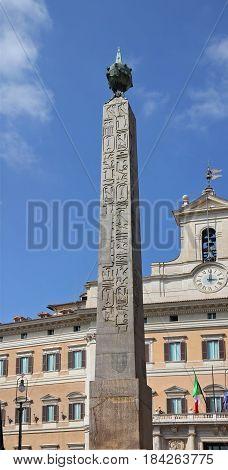 Obelisk of Montecitorio in Rome, Italy, Europe