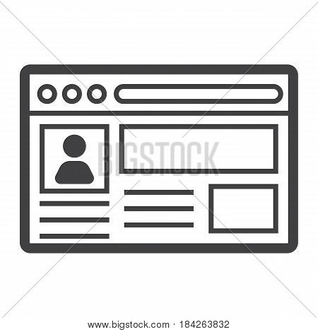 Account line icon, social media and website button, vector graphics, a linear pattern on a white background, eps 10.