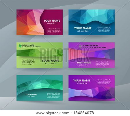 Business Card Background Blue Triangle Mosaic Horizontal Templates07