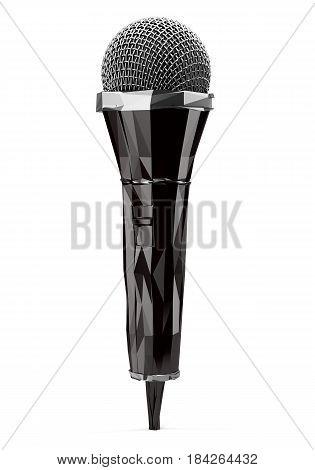Black microphone on dark blue background. 3d render