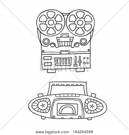 Retro musical equipment. A collection of stylish vector images of old tape recorders
