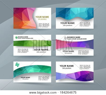 Business Card Background Blue Triangle Mosaic Horizontal Templates08