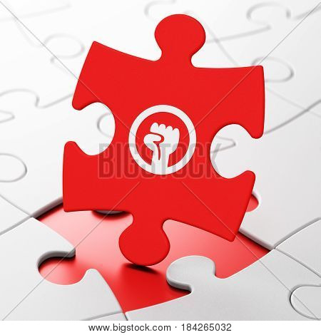 Political concept: Uprising on Red puzzle pieces background, 3D rendering