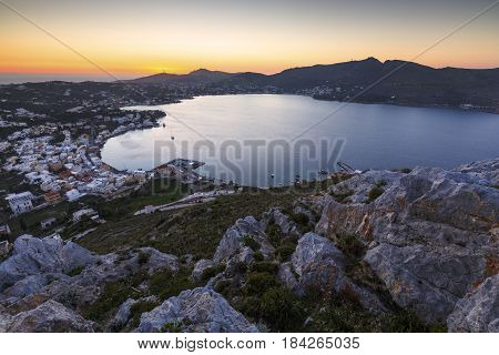 View of Agia Marina village on Leros island in Greece at sunset.