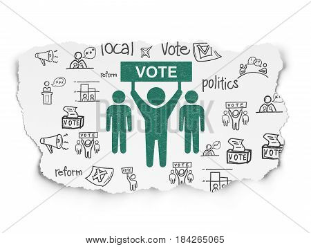 Political concept: Painted green Election Campaign icon on Torn Paper background with  Hand Drawn Politics Icons