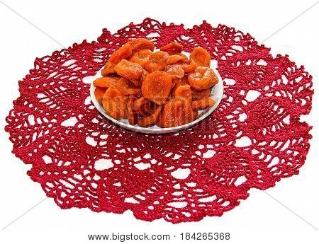 Juicy Dried Dried Fruits Lie On A Saucer On A Vintage Napkin, Apricot