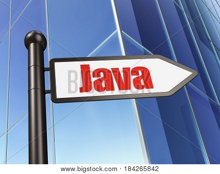 Programming concept: sign Java on Building background, 3D rendering