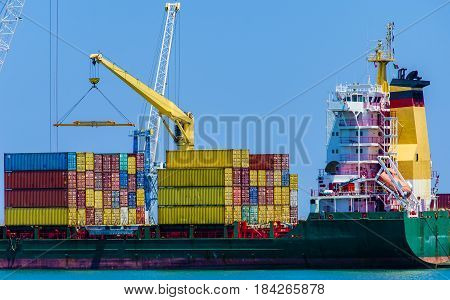 ship container ship in port during loading operations