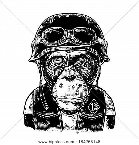 Monkey in the motorcycle helmet and glasses. 1 lettering on the waistcoat. Vintage black engraving illustration for poster and t-shirt design bike club. Isolated on white background.