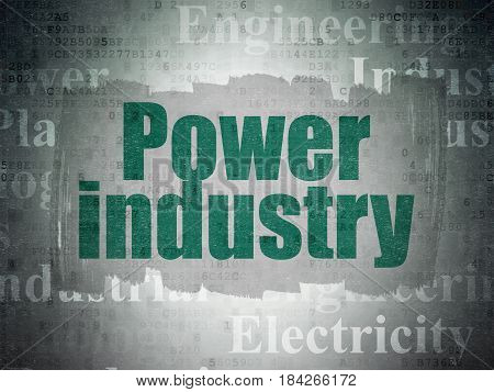 Industry concept: Painted green text Power Industry on Digital Data Paper background with   Tag Cloud