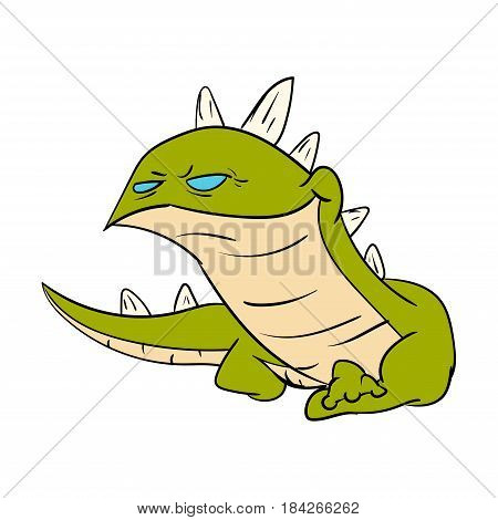 poster of Colorful vector illustration of a cartoon green smiling lizard