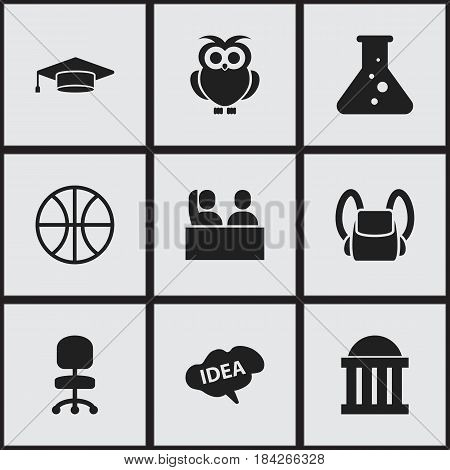 Set Of 9 Editable University Icons. Includes Symbols Such As Mind, Basket Play, Work Seat And More. Can Be Used For Web, Mobile, UI And Infographic Design.