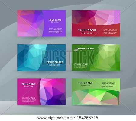 Business Card Background Blue Triangle Mosaic Horizontal Templates10