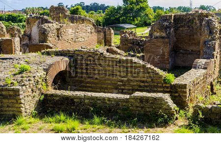 View of the archaeological ruins ancient Roman town Velia an ancient city of Magna Grecia Campania. Italy