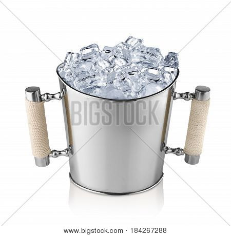 Champagne bucket full with ice. Isolated on white