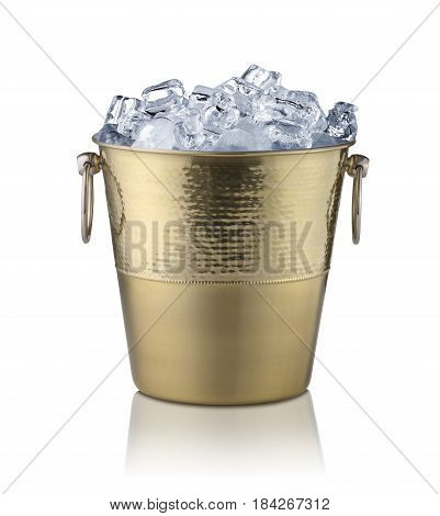Golden champagne bucket full with ice. Isolated on white