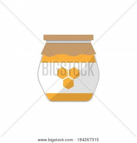 Honey jar flat icon, food drink elements, sweets sign, a colorful solid pattern on a white background, eps 10.