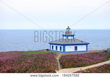Lighthouse on the cantabrian sea coast north of spain