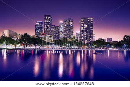 Downtown skyscrapers Los Angeles California at night