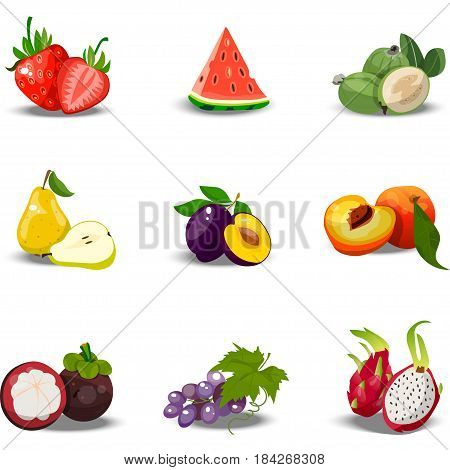 Very high quality original trendy vector set of realistic juicy fruits. strawberry, plum, pear, peach, watermelon, grape, dragonfruit, feijoa, Fully editable vector