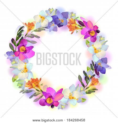 Vector greeting or invitation card with beautiful pictorial freesia flowers in the round garland on the white background with empty place for your text.