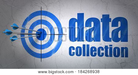 Success Data concept: arrows hitting the center of target, Blue Data Collection on wall background, 3D rendering