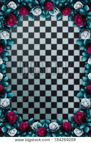 Red  roses and white roses on  chess background. Wonderland background. Rose flower frame. 3D Illustration