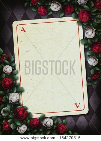 Alice in Wonderland. Red roses and white roses on chess background, playing card. Rose flower frame. 3D Illustration