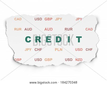 Currency concept: Painted green text Credit on Torn Paper background with  Currency
