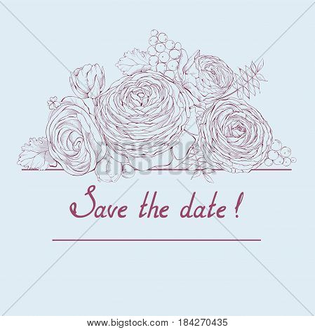 Vector blue colored square composition with gentle linear Ranunculus flowers and invitation text Save the date.